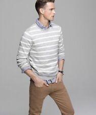 J.Crew Mens Ballast Sweater Size Small Gray White Thin Knit EUC