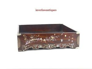 CHINESE QING DYNASTY MOTHER OF PEARL HARDWOOD STATIONARY TRAY 19TH C