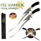 18.75' Fantasy Master Elf Warrior Twin Dual Swords Set w/ Stainless Mirror Polis