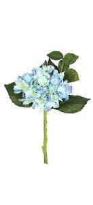 "Vickerman 15"" Short Stem Artificial Blue Hydrangea Featuring 2 Blooms 3 Stems"