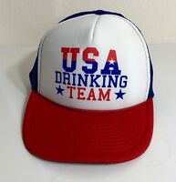 Vintage USA DRINKING TEAM  Trucker Hat Cap Adjustable SnapBack OTTO