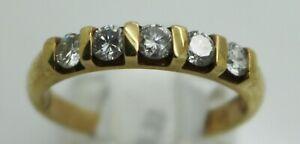 9ct yellow gold five stone diamond ring 0.33ct