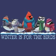 Winter T-shirt S M L XL XXL For the Birds Cotton NWT NEW Blue