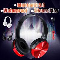 Waterproof Wireless bluetooth Headset Headphone HiFi Bass Stereo Earphone W/ Mic