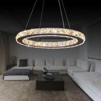 LED Crystal Oval Ring Pendant Light Chandelier Lamp Ceiling Fixture Deco 40CM