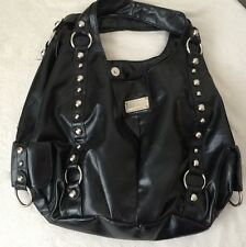 Solid Black Double Handle Hobo Bag Silver tone Studs By Cesca London New York :)