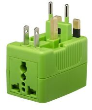 YUBI POWER ADAPTOR UNIVERSAL TRAVEL 2 SOCKETS GREEN FOR MORE THAN 150 COUNTRIES
