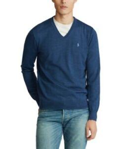 Polo Ralph Lauren Blue Heather Merino Wool V-Neck Sweater Mens Small w/Issue