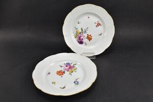 k66b13- 2x Meissen Porzellan Speiseteller, Altozier Blumen mit Insekten