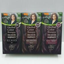 x3 Lolane Nature Code Herbal Color dye shampoo G2 brown Grey Coverage Hair 20ml.