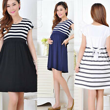 Women Maternity Casual Dress Pregnant Cotton Clothes Stripe Pregnancy Dresses