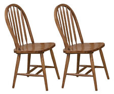 Dining Chairs Arrow Back Style Dark Oak Wood Finish Kitchen Diner Game Room