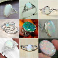 925 Silver Ring White Fire Opal Moon Stone Wedding Engagement Ring Gift Sz 6-10