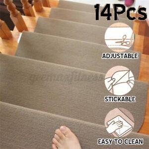 14PCS Non-Slip DIY Sticky Bottom Stair Mat Staircase Pad Floor Rugs Step Carpet