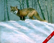 WILD FOX IN WINTER SNOW ANIMAL PAINTING WILDERNESS ART REAL CANVAS PRINT