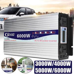 5000W 6000W LCD Car Solar Power Inverter DC 12V/24V To AC 110V Pure Sine Wave
