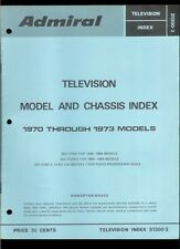 1970-73 Admiral Television TV Chassis Model Rare Original Factory Index Manual