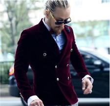 Burgundy Men's Suit Velvet Double Breasted Tuxedos 2 Pcs Houndstooth Pant Custom