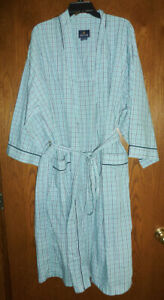 STAFFORD - MENS ONE-SIZE-FITS-MOST POLY-COTTON TIE-FRONT ROBE - GINGHAM PLAID