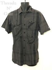 10.Deep Mens Cargo Style Gray & Brown Striped Pattern Shirt! Size L. 4 Pocket