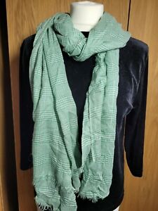 JIGSAW womens scarf, large semi sheer, green & white check scarf with fringe