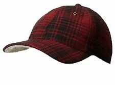 Woolrich Red & Black Heritage Plaid Winter Wool Baseball Cap
