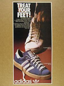 1975 Adidas TOURNAMENT White & Blue Shoes color photo vintage print Ad