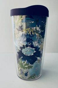 TERVIS floral Tumbler 16oz with purple Lid, Hot or Cold