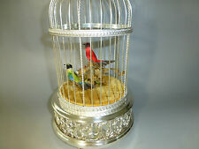 RARE SILVER PLATED VINTAGE SWISS REUGE DOUBLE BIRDS SINGING BIRD CAGE MUSIC BOX