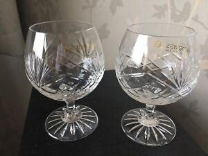 ZAWIERCIE - Cut Crystal Brandy Glasses / Balloons 2 - PRISTINE COND.