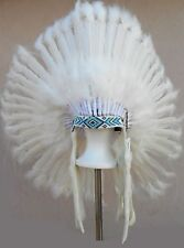 "Genuine Native American Navajo Indian Headdress 36 inch ""CEREMONIAL WHITE"""