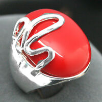 RARE RED CORAL GEMSTONE 925 STERLING SILVER LUCKY RINCH RING SIZE 8/9/10