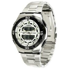 Casio AQ164WD-7A Mens Stainless Steel Analog Digital Sports Watch Dual Time NEW