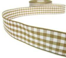 "3 Yds Light Brown Tan Beige White Gingham Reversible Ribbon 7/8""W"