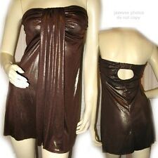 USA MADE Womens CHOCOLATE BROWN Metallic GOLD Strapless Tube MINI DRESS Clubwear