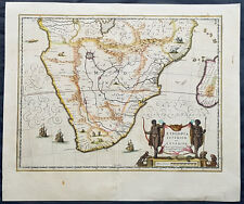 1639 Jan Jansson Original Antique Map of South Africa, Madagascar - Beautiful