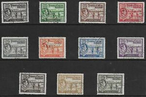 """Turks and Caicos Islands 1938 KGVI """"Raking Salt"""" Definitives - SS to 1s - used"""