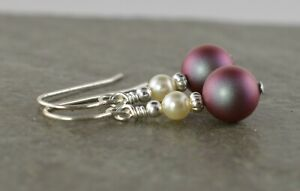 Iridescent Red & Cream Crystal Pearl Sterling Silver Earrings + Gift Box