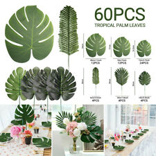 60Pcs Artificial Tropical Palm Leaves 6Kinds Plastic Silk Fake Leaves Room Decor