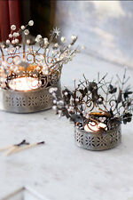 Beaded Metal CROWN Votive Candle Holder~Large Handmade~Wedding Table Decor