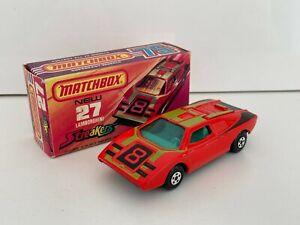MATCHBOX  SUPERFAST #27 LAMBORGHINI  >NR MINT- MINT IN CRISP BOX