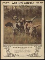 "Hunting Bird Dogs, Hounds, HUNT, antique, 1919 NY Tribune, 20""x16"" Art print"