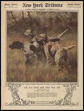 "Hunting Bird Dogs, Hounds, HUNT, antq 1919 NY Tribune article, 20""x16"" Art print"