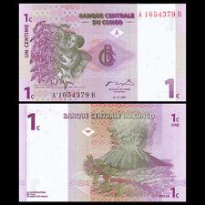 Lot 5 PCS, Congo 1 Cent, 1997, P-80, Banknotes, UNC