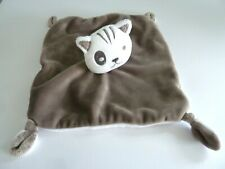 C7- DOUDOU PLAT SIMBA CHAT MARRON TAUPE BLANC COCARD CARRE - NEUF *