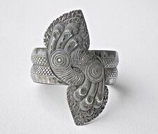 Silver Cuff Bracelet Rare Indochina Asian Antique Jewelry Artist Signed Vintage