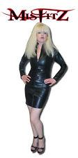 Misfitz black leather look mistress dress  2 way zip size 20 Goth TV