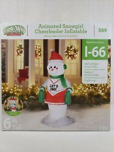 Gemmy 6 ft Animated Snowgirl Cheerleader Christmas Airblown Inflatable Snowman