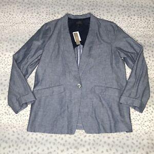 J Crew Blazer Size 16 Tall Unstructured Cotton Linen Chambray Blue Jacket
