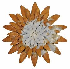 "Hanging Metal Galvanized Rusty Flower Wall Accent Garden Farm Home 10"" dia NEW"
